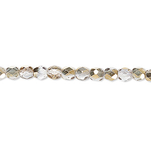bead, czech fire-polished glass, clear and metallic gold, 4mm faceted round. sold per pkg of 1,200 (1 mass).