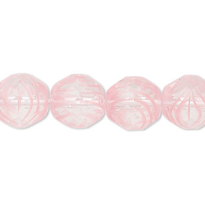 bead, czech fire-polished glass, clear and pink, 12mm faceted round. sold per 16-inch strand, approximately 35 beads.