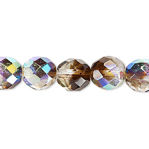 bead, czech fire-polished glass, clear and smoke ab, 10mm faceted round. sold per 16-inch strand.