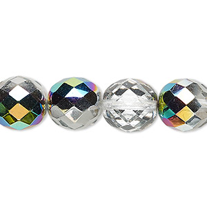 bead, czech fire-polished glass, clear vitrail, 12mm faceted round. sold per 16-inch strand.