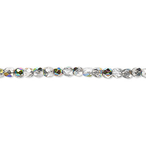 bead, czech fire-polished glass, clear vitrail, 3mm faceted round. sold per 16-inch strand.