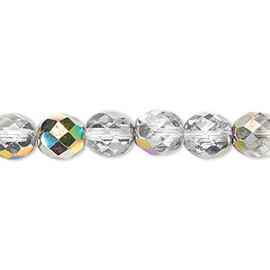 bead, czech fire-polished glass, clear vitrail, 8mm faceted round. sold per pkg of 600 (1/2 mass).