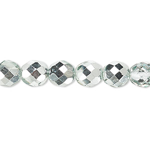 bead, czech fire-polished glass, clear with half-coat metallic icy teal, 8mm faceted round. sold per 16-inch strand.