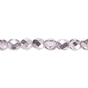 bead, czech fire-polished glass, clear with half-coat metallic pink silver, 6mm faceted round. sold per 16-inch strand.