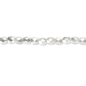 bead, czech fire-polished glass, clear with half-coat metallic silver and chrome, 4mm faceted round. sold per 16-inch strand.