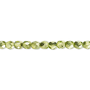 bead, czech fire-polished glass, clear with half-coat metallic silver green, 4mm faceted round. sold per 16-inch strand.