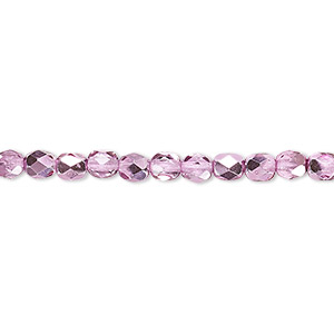 bead, czech fire-polished glass, clear with half-coat metallic watermelon, 4mm faceted round. sold per 16-inch strand.