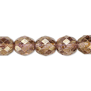 bead, czech fire-polished glass, copper luster, 10mm faceted round. sold per 16-inch strand.