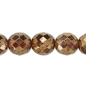 bead, czech fire-polished glass, copper luster, 12mm faceted round. sold per 16-inch strand.