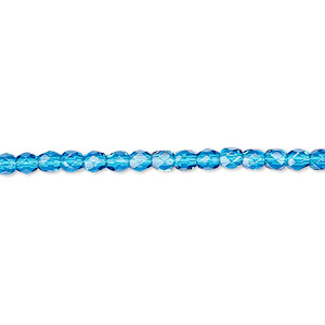 bead, czech fire-polished glass, dark aqua blue, 3mm faceted round. sold per 16-inch strand, approximately 130 beads.