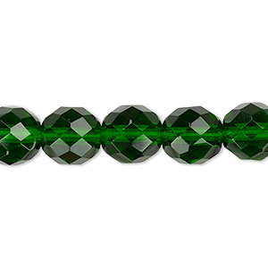bead, czech fire-polished glass, emerald green, 10mm faceted round. sold per pkg of 600 (1/2 mass).