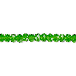bead, czech fire-polished glass, emerald green, 5x4mm faceted rondelle. sold per 16-inch strand.