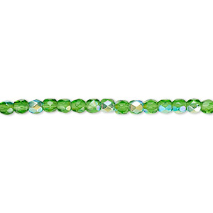bead, czech fire-polished glass, emerald green ab, 3mm faceted round. sold per pkg of 1,200 (1 mass).