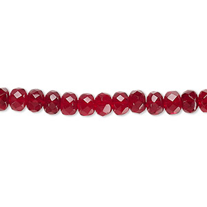 bead, czech fire-polished glass, garnet red, 5x4mm faceted rondelle. sold per 16-inch strand.