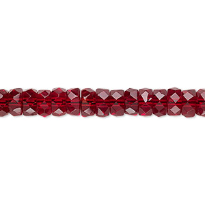 bead, czech fire-polished glass, garnet red, 6x3mm faceted rondelle. sold per 16-inch strand.