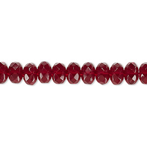 bead, czech fire-polished glass, garnet red, 7x5mm faceted rondelle. sold per 16-inch strand.