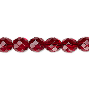 bead, czech fire-polished glass, garnet red, 8mm faceted round. sold per pkg of 600 (1/2 mass).