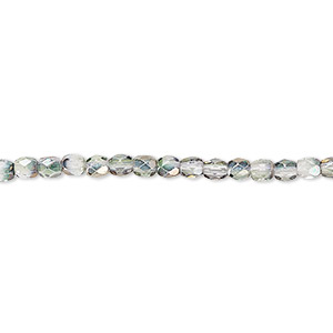 bead, czech fire-polished glass, green and grey luster, 3mm faceted round. sold per 16-inch strand.
