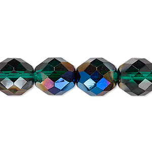 bead, czech fire-polished glass, green blue iris, 12mm faceted round. sold per 16-inch strand.
