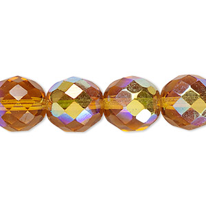 bead, czech fire-polished glass, honey ab, 12mm faceted round. sold per 16-inch strand.