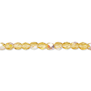 bead, czech fire-polished glass, honey ab, 4mm faceted round. sold per 16-inch strand.