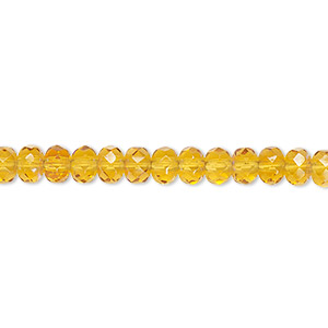 bead, czech fire-polished glass, honey ab, 5x4mm faceted rondelle. sold per 16-inch strand.