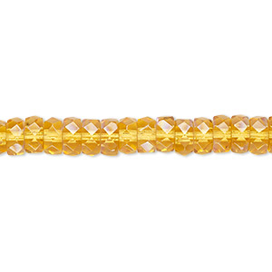 bead, czech fire-polished glass, honey ab, 6x3mm faceted rondelle. sold per 16-inch strand.