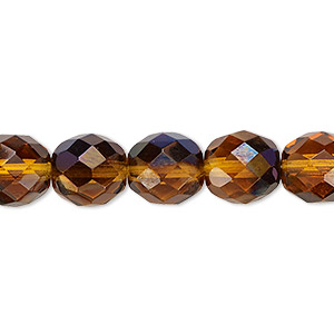 bead, czech fire-polished glass, honey blue iris, 10mm faceted round. sold per 16-inch strand.