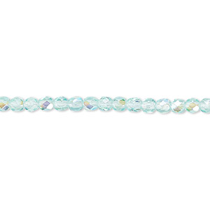 bead, czech fire-polished glass, light aqua ab, 3mm faceted round. sold per pkg of 1,200 (1 mass).