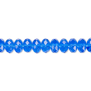 bead, czech fire-polished glass, light cobalt, 7x5mm faceted rondelle. sold per 16-inch strand.