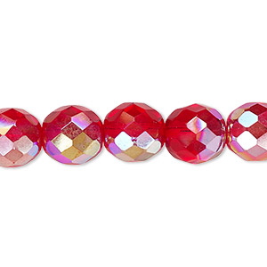 bead, czech fire-polished glass, light red ab, 10mm faceted round. sold per 16-inch strand.