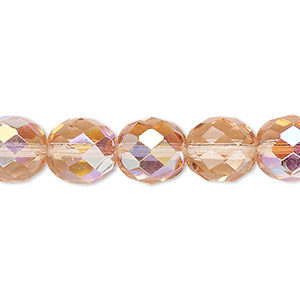 bead, czech fire-polished glass, light rose ab, 10mm faceted round. sold per pkg of 600 (1/2 mass).