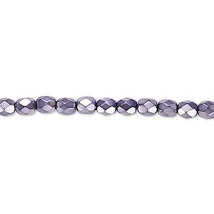 bead, czech fire-polished glass, lilac carmen, 4mm faceted round. sold per pkg of 1,200 (1 mass).
