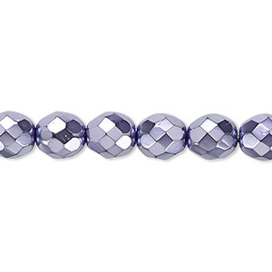 bead, czech fire-polished glass, lilac carmen, 8mm faceted round. sold per 16-inch strand.