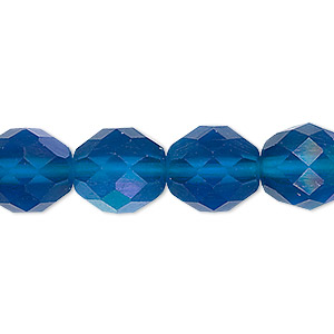 bead, czech fire-polished glass, matte blue ab, 12mm faceted round. sold per 16-inch strand.