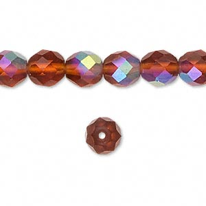 bead, czech fire-polished glass, matte brown ab, 8mm faceted round. sold per 16-inch strand.