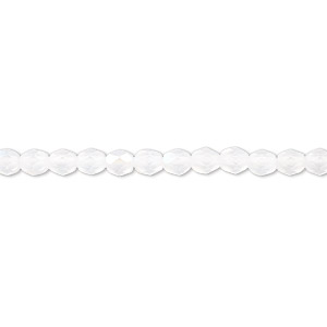 bead, czech fire-polished glass, matte opal ab, 4mm faceted round. sold per pkg of 1,200 (1 mass).