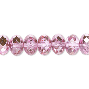 bead, czech fire-polished glass, metallic bubblegum, 11x7mm faceted rondelle. sold per 16-inch strand.