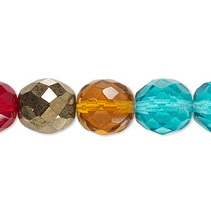 bead, czech fire-polished glass, multicolored, 12mm faceted round. sold per 16-inch strand.