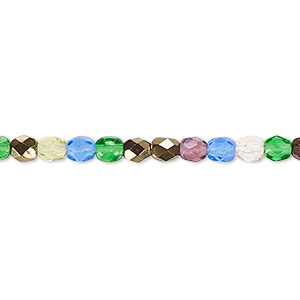 bead, czech fire-polished glass, multicolored, 4mm faceted round. sold per 16-inch strand.