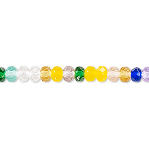 bead, czech fire-polished glass, multicolored, 5x4mm faceted rondelle. sold per pkg of 1,200 (1 mass).