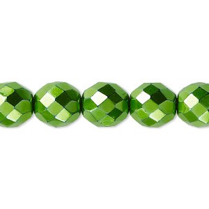 bead, czech fire-polished glass, opaque emerald green carmen, 10mm faceted round. sold per 16-inch strand.