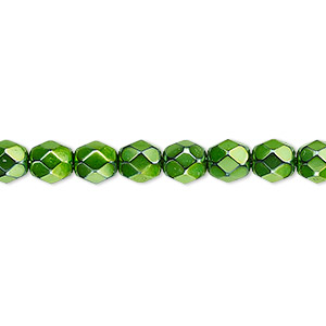 bead, czech fire-polished glass, opaque emerald green carmen, 6mm faceted round. sold per 16-inch strand.