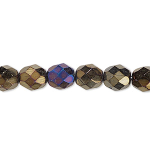 bead, czech fire-polished glass, opaque iris brown, 8mm faceted round. sold per 16-inch strand.
