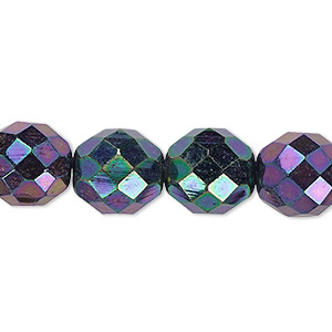 bead, czech fire-polished glass, opaque iris purple, 12mm faceted round. sold per 16-inch strand.