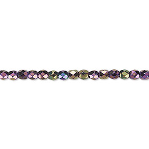 bead, czech fire-polished glass, opaque iris purple, 3mm faceted round. sold per 16-inch strand.