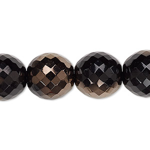 bead, czech fire-polished glass, opaque jet and copper, 14mm faceted round. sold per 16-inch strand.