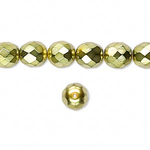 bead, czech fire-polished glass, opaque light green carmen, 8mm faceted round. sold per 16-inch strand.