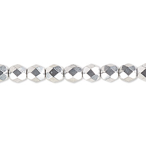 bead, czech fire-polished glass, opaque metallic silver, 6mm faceted round. sold per pkg of 1,200 (1 mass).