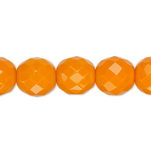 bead, czech fire-polished glass, opaque orange, 12mm faceted round. sold per 16-inch strand, approximately 35 beads.
